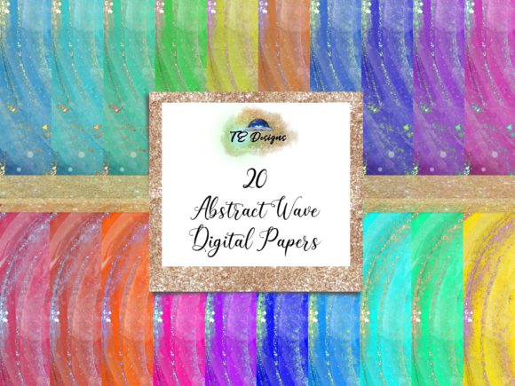 Print on Demand: Abstract Wave digital Papers Graphic Backgrounds By TE Designs