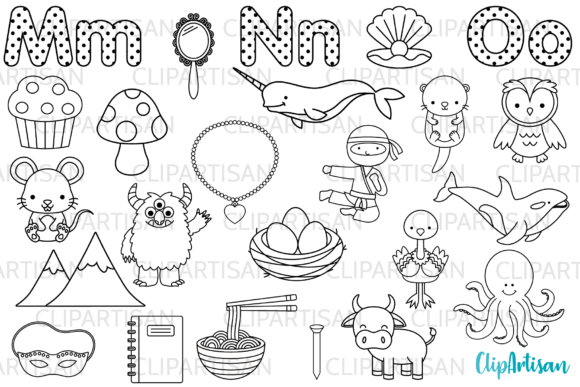 Alphabet Digital Stamps, ABC Clip Art Graphic Illustrations By ClipArtisan