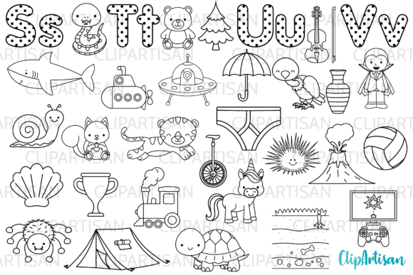 Alphabet Digital Stamps, ABC Clipart Graphic Illustrations By ClipArtisan