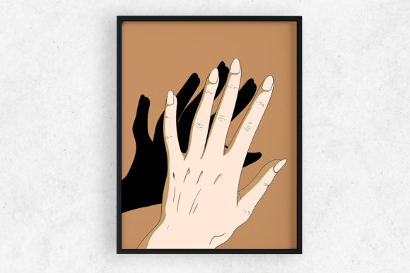 Print on Demand: Art Print | Wall Art Hands and Shadow Graphic Illustrations By Saydung89