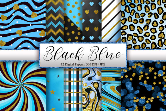Black Blue Gold Glitter Background Graphic Backgrounds By PinkPearly