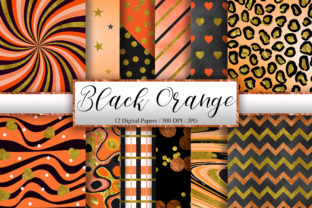 Print on Demand: Black Orange Gold Glitter Background Graphic Backgrounds By PinkPearly