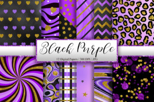 Print on Demand: Black Purple Gold Glitter Background Graphic Backgrounds By PinkPearly