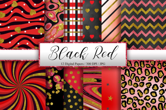 Black Red Gold Glitter Background Graphic Backgrounds By PinkPearly