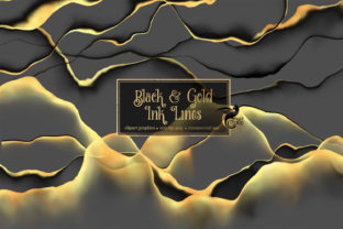 Print on Demand: Black and Gold Ink Lines Graphic Illustrations By Digital Curio