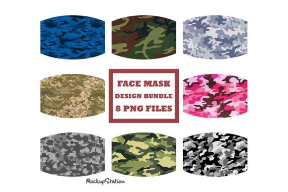 Print on Demand: Camo Face Mask Designs PNG Bundle Gráfico Fondos Por Mockup Station