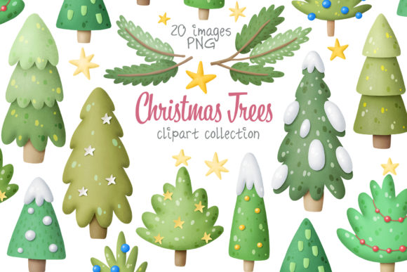 Print on Demand: Christmas Trees Clipart Gráfico Ilustraciones Por Architekt_AT