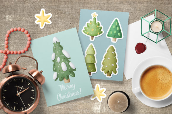 Christmas Trees Clipart Graphic Download