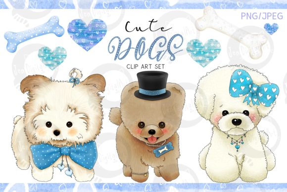 Cute Dogs - Blue Version Graphic Illustrations By Jen Digital Art