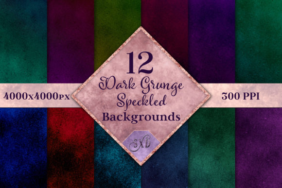 Print on Demand: Dark Grunge Speckled Backgrounds Gráfico Fondos Por SapphireXDesigns