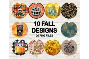 Print on Demand: Fall Car Coaster Sublimation Bundle Graphic Backgrounds By Mockup Station