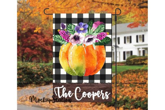 Print on Demand: Fall Pumpkin Garden Flag Design PNG Graphic Backgrounds By Mockup Station