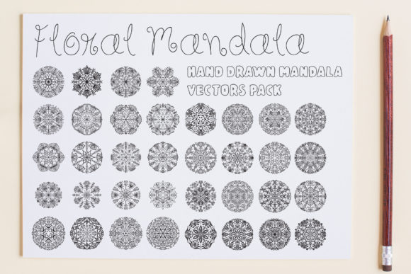 Print on Demand: Floral Mandala Vector Pack Graphic Illustrations By Dasagani