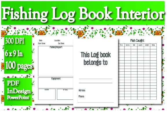 Print on Demand: KDP Interior Fishing Log Book Graphic KDP Interiors By Ivana Prue