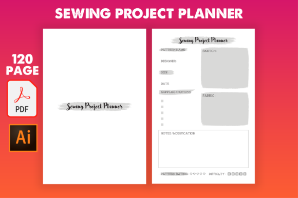 Print on Demand: KDP Interior - Sewing Project Planner Graphic KDP Interiors By MK DESIGNS