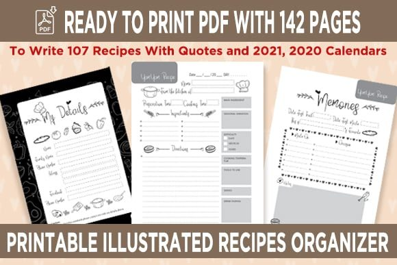 Print on Demand: KDP Recipes Organizer Notebook Planner Grafik KPD Innenseiten von Queen Dreams Store