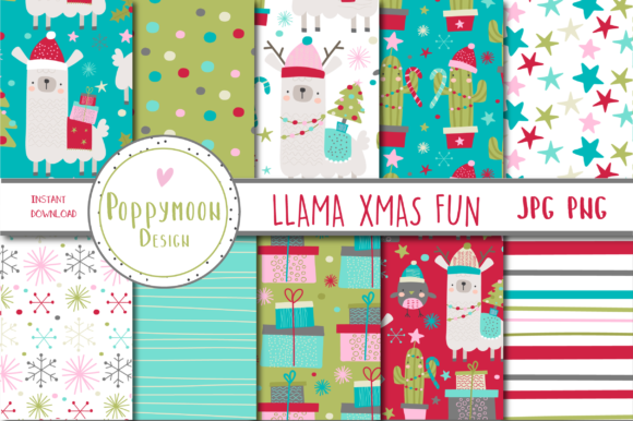 Print on Demand: Llama Xmas Fun Paper Grafik Muster von poppymoondesign
