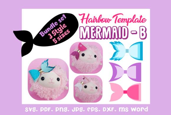 Mermaid B- 3Style 5Size Hairbow Template Graphic 3D SVG By momstercraft