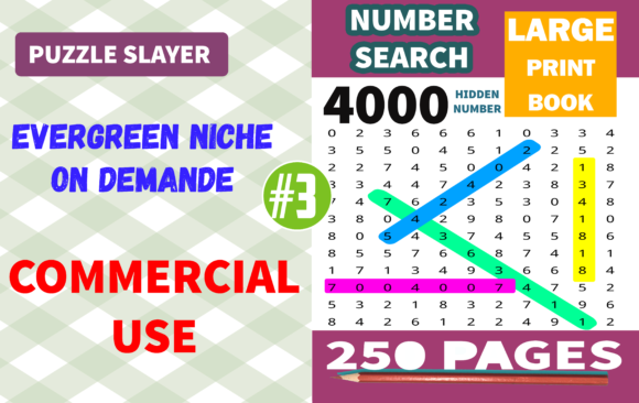 Number Search Puzzle #3 Graphic KDP Interiors By PuzzleSlayer