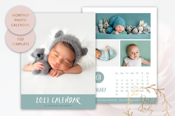 Print on Demand: PSD Photo Calendar Template 2021 #4 Graphic Print Templates By daphnepopuliers