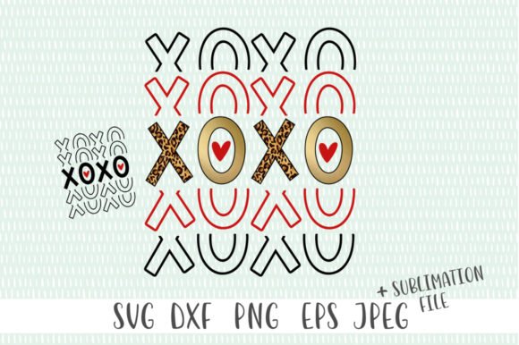 XOXO Valentines Day Sublimation Design Graphic Crafts By Simply Cut Co