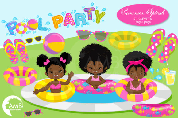 African American Pool Party Pack 938-B Graphic Illustrations By AMBillustrations
