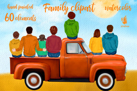 Autumn Family Truck Clipart Graphic Illustrations By LeCoqDesign - Image 1