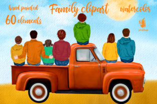 Print on Demand: Autumn Family Truck Clipart Graphic Illustrations By LeCoqDesign