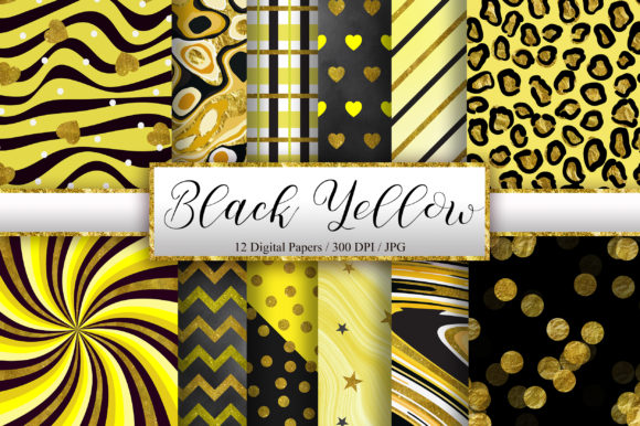 Black Yellow Gold Glitter Background Graphic Backgrounds By PinkPearly