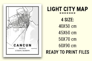 Print on Demand: Cancun Light City Map Graphic Photos By tienstencil