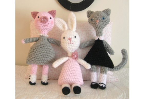 Crochet Little Animal Girls Pattern Set Graphic Crochet Patterns By Amy Gaines Amigurumi Patterns
