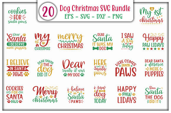 Print on Demand: Dog Christmas Design Bundle Graphic Print Templates By GraphicsBooth