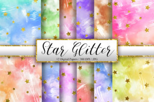 Print on Demand: Grunge Sky Watercolor and Star Glitter Graphic Backgrounds By PinkPearly