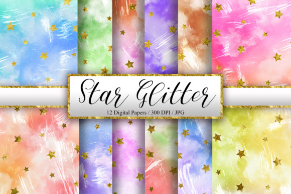 Grunge Sky Watercolor and Star Glitter Graphic Backgrounds By PinkPearly