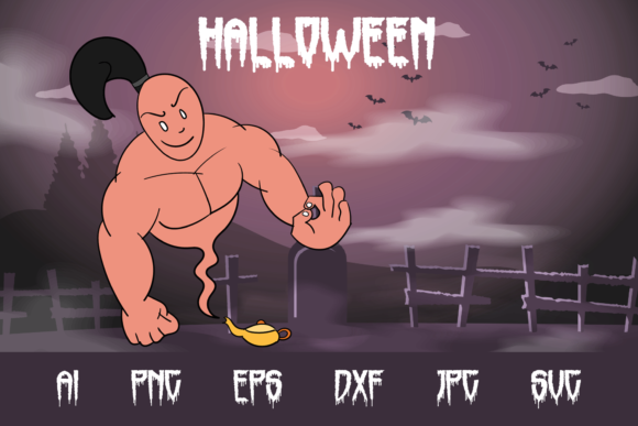 Halloween Genie Graphic Crafts By custodestudio