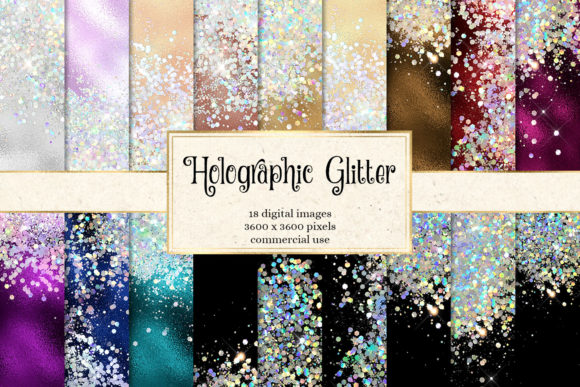Print on Demand: Holographic Glitter Digital Paper Grafik Texturen von Digital Curio