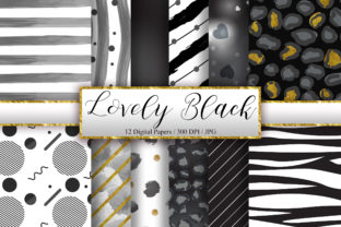 Print on Demand: Lovely Black Background Digital Papers Graphic Backgrounds By PinkPearly