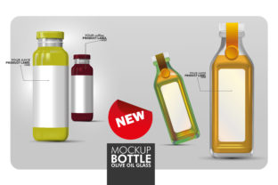 Mockup 3D Bottles of Oil, Juice, Drinks Graphic Product Mockups By ayobergembira