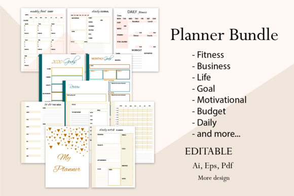 Planner Bundle Graphic Print Templates By Igraphic Studio