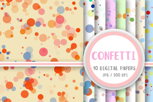 Rainbow Confetti Background Graphic Backgrounds By PearlyDaisy