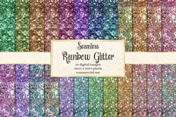 Rainbow Glitter Digital Paper Graphic