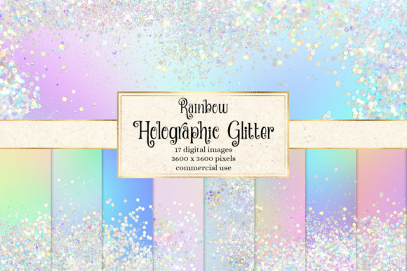 Print on Demand: Rainbow Holographic Glitter Digital Paper Grafik Texturen von Digital Curio
