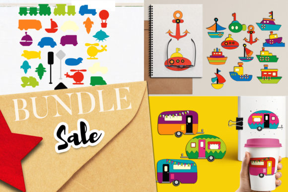 Print on Demand: Transportation Mix Bundle Graphic Illustrations By Revidevi