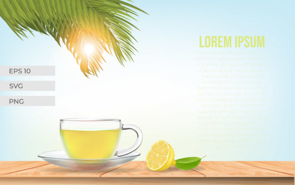 Realistic Lemon Tea on the Table. Graphic Illustrations By ngabeivector