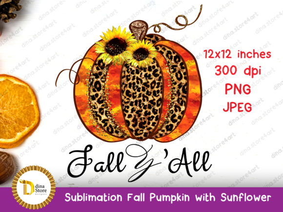 Print on Demand: Sublimation Fall Pumpkin with Sunflowers Graphic Crafts By dina.store4art