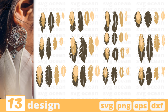 Print on Demand: 13 Feathers Earrings Design Bundle Graphic Crafts By SvgOcean