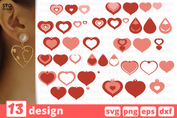 Print on Demand: 13 Heart Shaped Earrings Design Bundle Graphic Crafts By SvgOcean