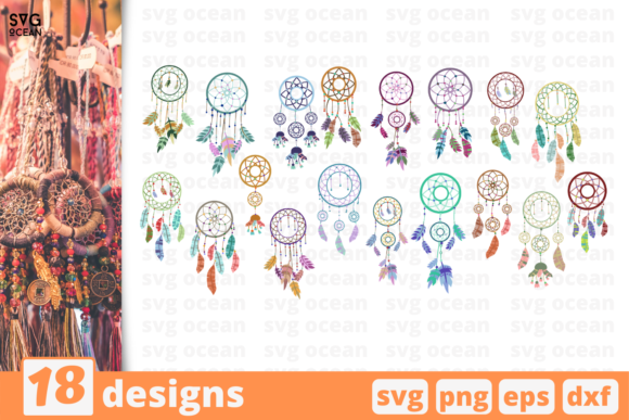 Print on Demand: 18 Dreamcatcher Design Bundle Graphic Crafts By SvgOcean