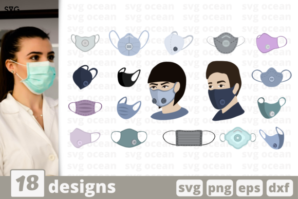 Print on Demand: 18 Face Mask Designs Bundle Graphic Crafts By SvgOcean