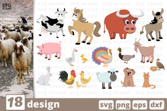 Print on Demand: 18 Farm Animals Designs Bundle Graphic Crafts By SvgOcean